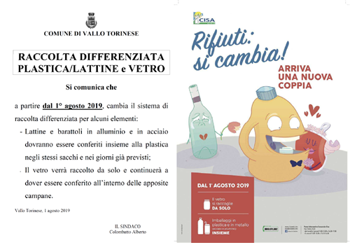 RACCOLTA DIFFERENZIATA PLASTICA/LATTINE e VETRO
